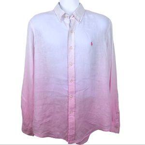 Ralph Lauren Linen Shirt Ombré Pink Fade XL